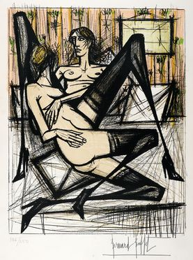 Bernard Buffet  (Parigi, 1928 - Tourtour, 1999) : Lotto di 2 litografie dalla cartella Jeux de dames.  - Auction Graphics & Books - Libreria Antiquaria Gonnelli - Casa d'Aste - Gonnelli Casa d'Aste