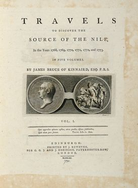 Bruce of Kinnaird James : Travels to discover the source of the Nile, in the years 1768, 1769, 1770, 1771, 1772, and 1773 [...]. Vol. I (-V). Scienze naturali, Geografia e viaggi  - Auction Graphics & Books - Libreria Antiquaria Gonnelli - Casa d'Aste - Gonnelli Casa d'Aste