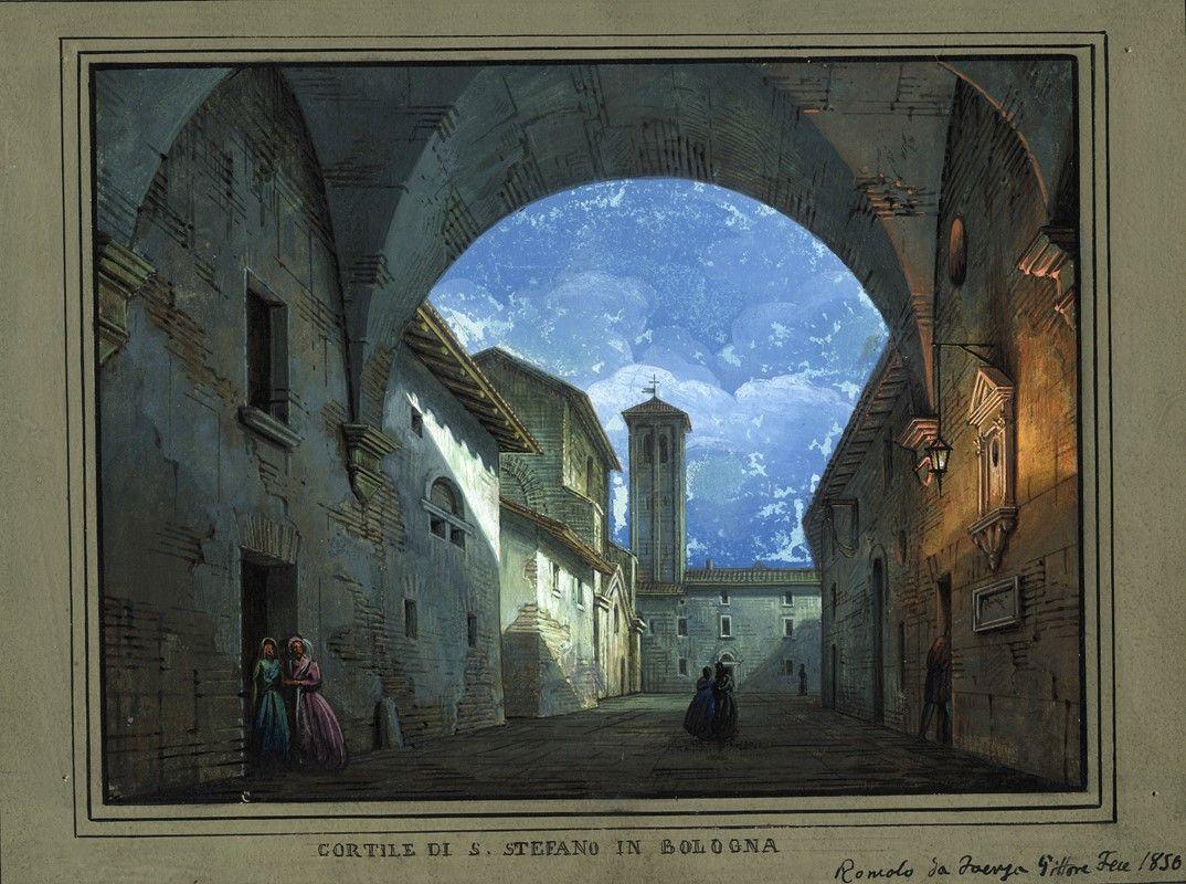 Romolo Liverani (Faenza, 1809 1872) : Cortile di S