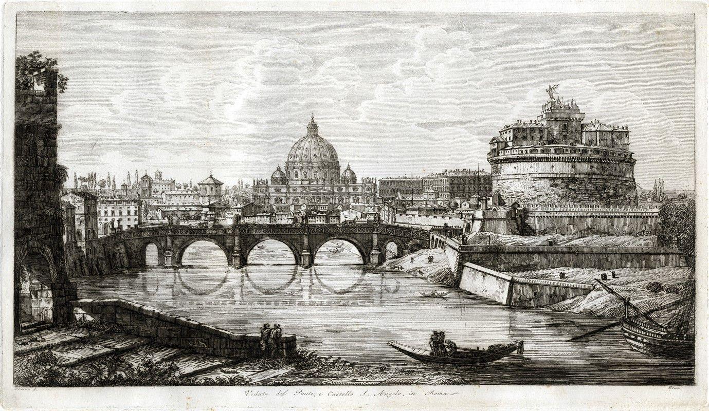 Luigi rossini ravenna 1790 roma 1875 veduta del for Abbellimento del lotto d angolo