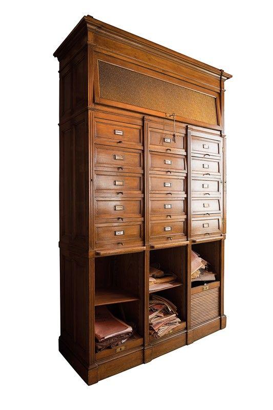 Arti applicate arredamento ceramiche ornamenti arte coppia di mobili da archivio - Aste arredamento casa ...