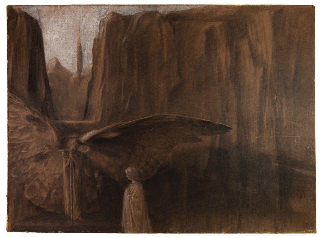 Duilio cambellotti roma 1876 1960 l 39 angelo portiere for Abbellimento del lotto d angolo