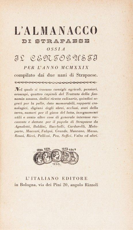 almanacco di strapaese per l'anno mcmxxix. leo longanesi ... - Libreria Antiquaria A Milano