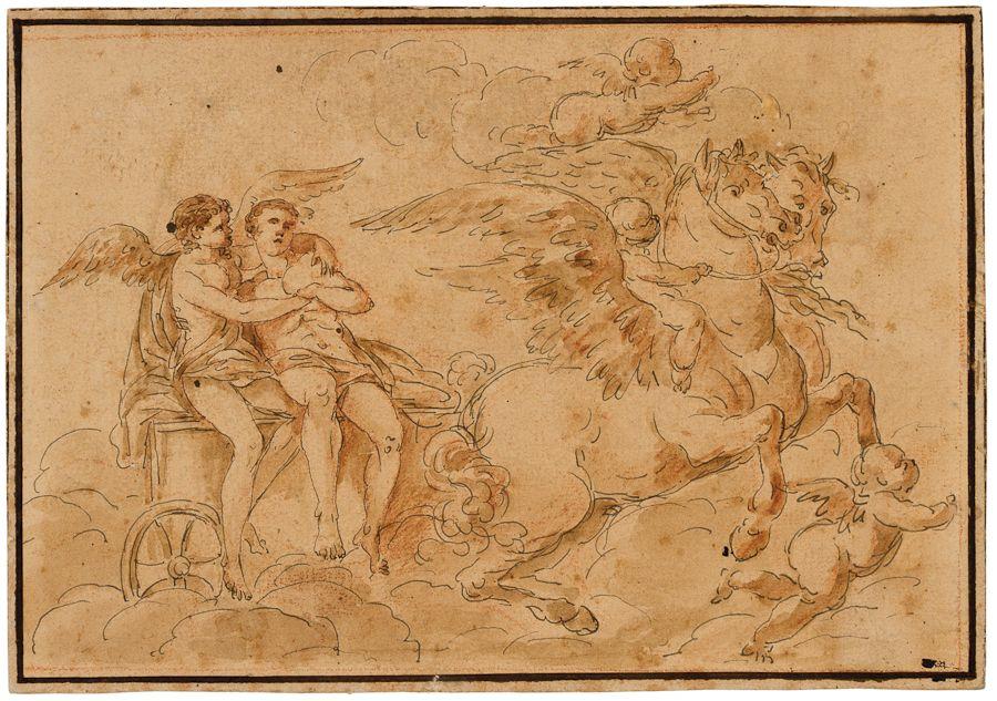 Scena mitologica con carro trainato da cavalli alati for Disegni cavalli alati
