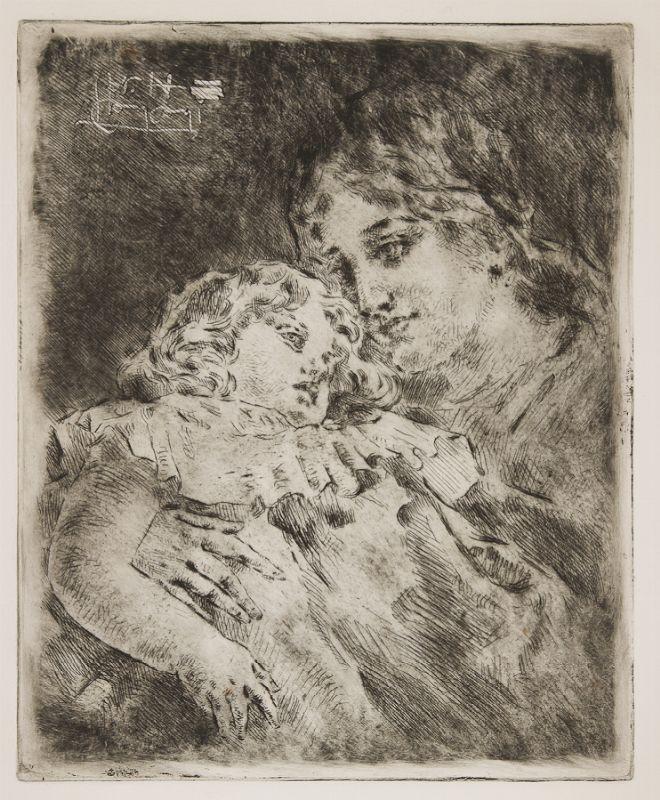 luigi conconi (milano, 1852 - 1917) : amor materno. - asta stampe ... - Libreria Antiquaria A Milano