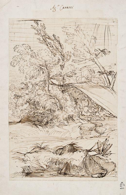 (Bologna, 1557 - Parma, 1602) : Paesaggio con figure sotto una tenda ...