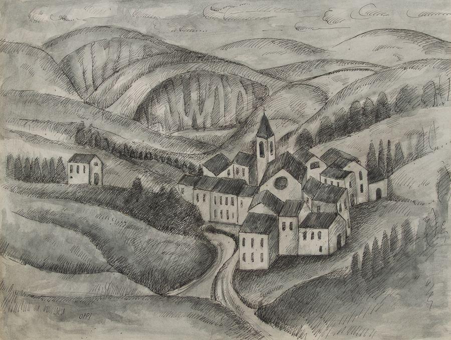 Preferenza Ubaldo Oppi (Bologna, 1889 - Vicenza, 1942) : Paesaggio. - Asta  HP71