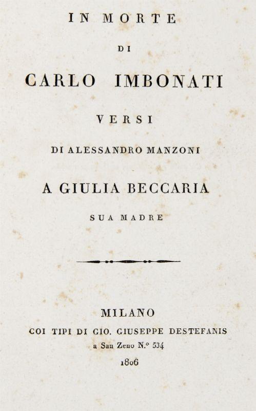 Manzoni Alessandro In Morte Di Carlo Imbonati Asta