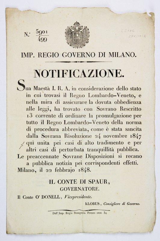legge marziale. notificazione dell'imperial regio governo di ... - Libreria Antiquaria A Milano