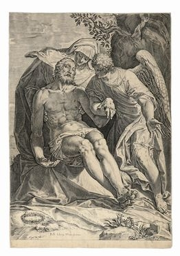 Agostino Carracci  (Bologna, 1557 - Parma, 1602) : Pietà.  - Auction Graphics &  [..]