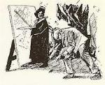 Disegno di Piero Bernardini raffigurante Aldo Gonnelli che raccoglie il pennello dell´artista.