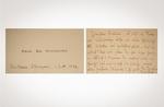 Nietzsche Friedrich, Biglietto da visita del filosofo, autografo firmato