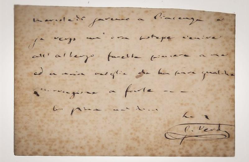 Verdi Giuseppe, Biglietto con firma autografa.