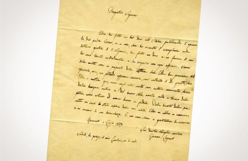 Asta 2: Leopardi, lettera autografa firmata. Venduto a 11.000 €